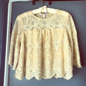 Forever 22 gold cropped lace blouse